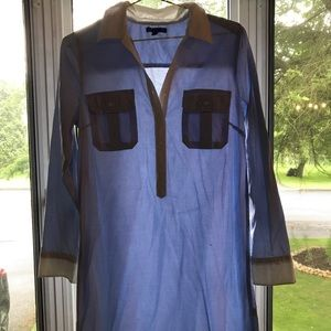 Gap Blue Shirt Dress with White Collar Size S